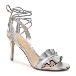 Marc Fisher Bamba Silver Metallic Wrap Sandal EUC